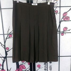 Vintage Moschino Chocolate Pleated Textured Skirt